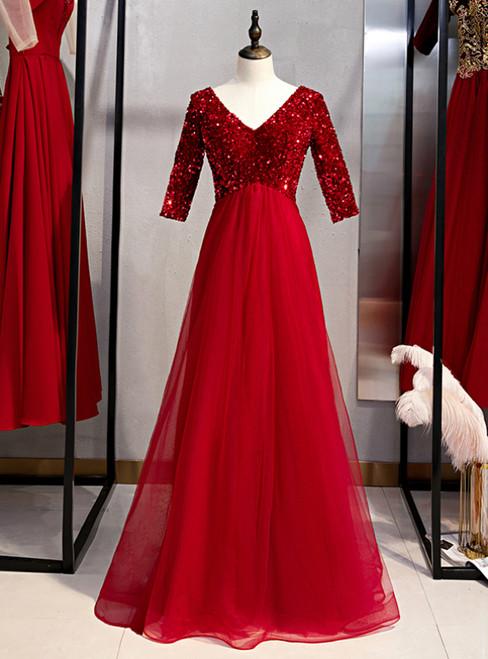 Burgundy Tulle Sequins V-neck Short Sleeve Prom Dress 2020