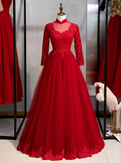 Burgundy Tulle Lace High Neck Long Sleeve Backless Prom Dress 2020