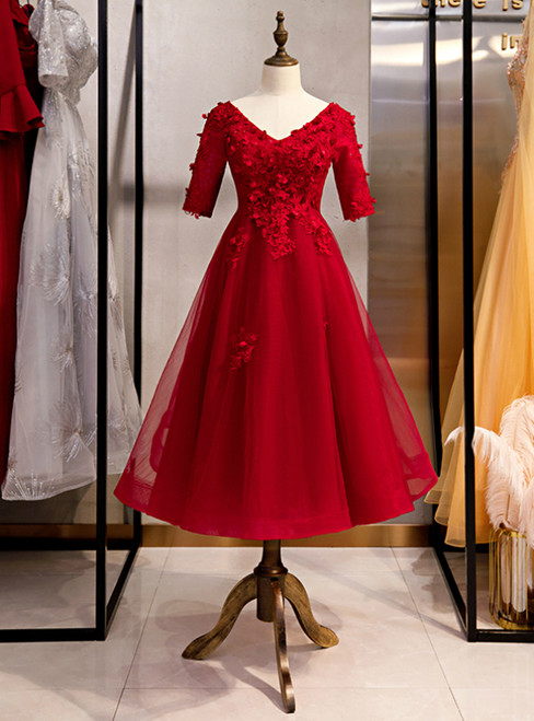 Burgundy Tulle V-neck Short Sleeve Lace Appliques High Waist Prom Dress 2020