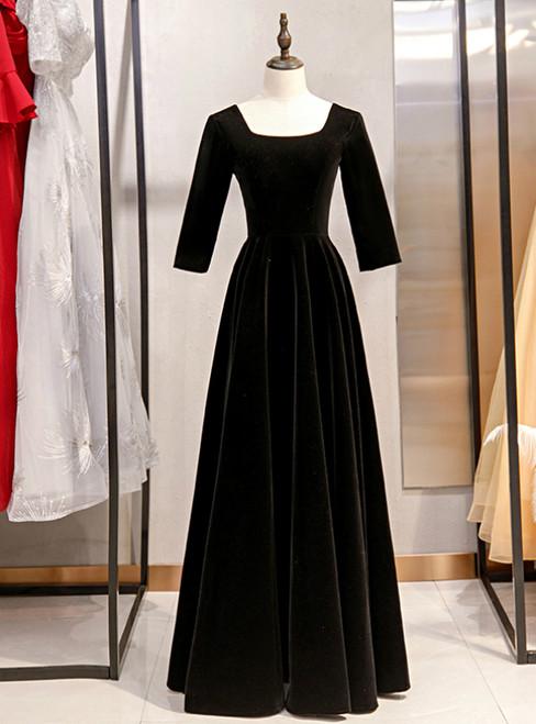 A-Line Black Velvet Square Short Sleeve Prom Dress 2020