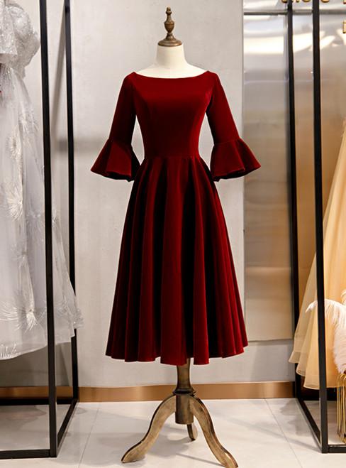 Burgundy Velvet Short Sleeve Bateau Neck Short Prom Dress 2020