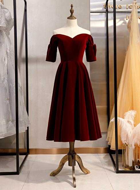Dark Burgundy Velvet Off the Shoulder Short Sleeve Prom Dress 2020