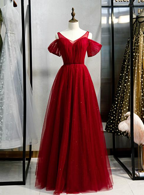 A-Line Burgundy Tulle V-neck Long Prom Dress 2020
