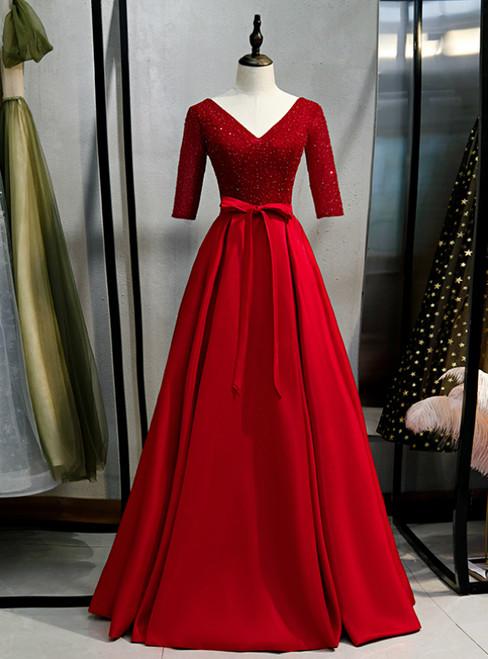 Burgundy V-neck Satin Short Sleeve Sequins Prom Dress 2020