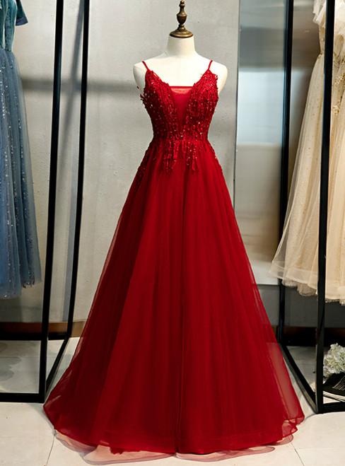 A-Line Burgundy Tulle V-neck Embrodiery Prom Dress 2020