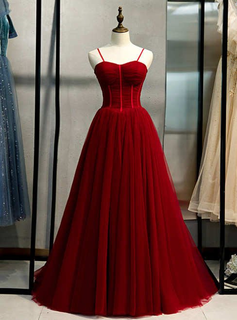 A-Line Burgundy Tulle Spaghetti Straps Pleats Prom Dress 2020