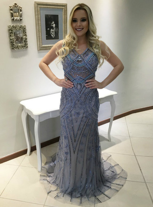 Sheath V Neck Sleeveless Sweep Train Prom Dress with Beading Dress Mermaid Prom Gown For Teens