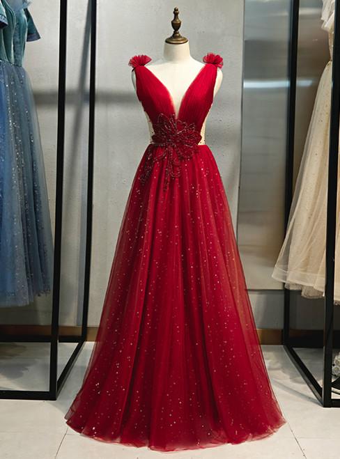 Burgundy Tulle Deep V-neck Backless Beading Prom Dress