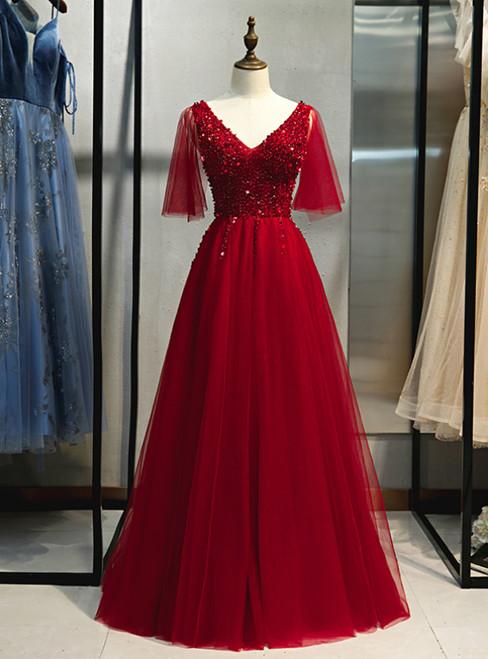 Sexy Burgundy Tulle V-neck Beading Sequins Prom Dress 2020
