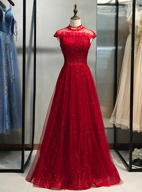 Burgundy Tulle Sequins High Neck Cap Sleeve Prom Dress 2020