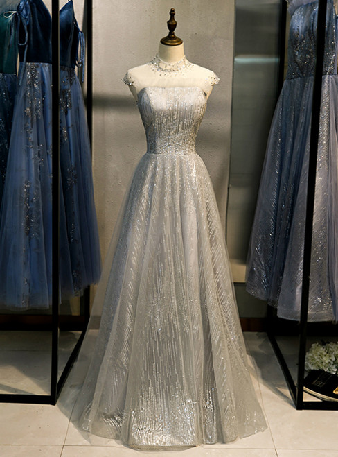 Gray Tulle Sequins High Neck Cap Sleeve Prom Dress