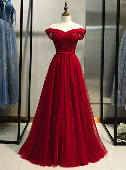 Burgundy Tulle Off the Shoulder Beading Prom Dress 2020