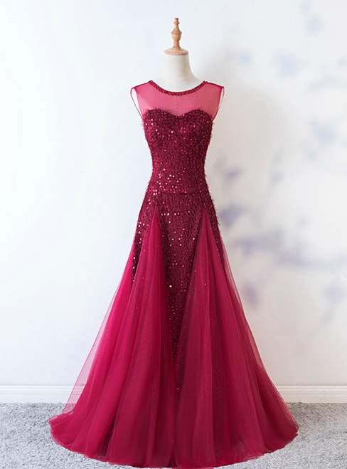 Burgundy Mermaid Sequins Backless Long Prom Dress 2020