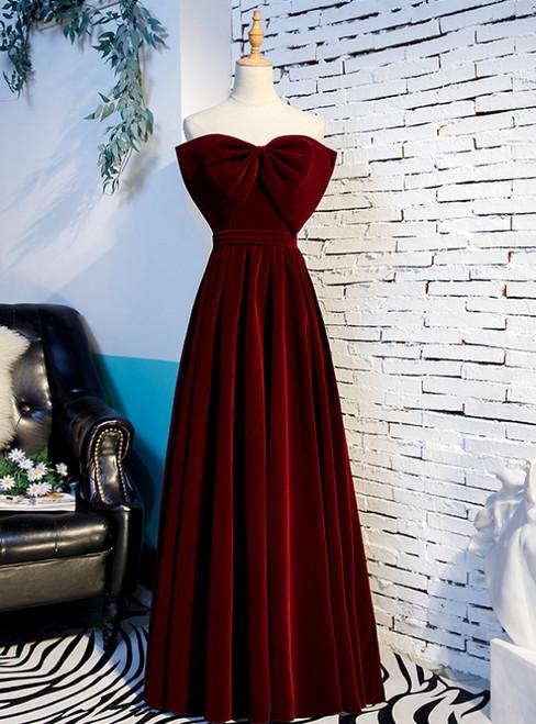 A-Line Burgundy Velvet Strapless Long Prom Dress With Bow 2020