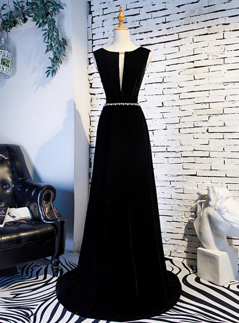 A-Line Black Velvet Backless Prom Dress With Beading 2020