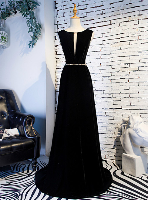 A-Line Black Velvet Backless Prom Dress With Beading 2020