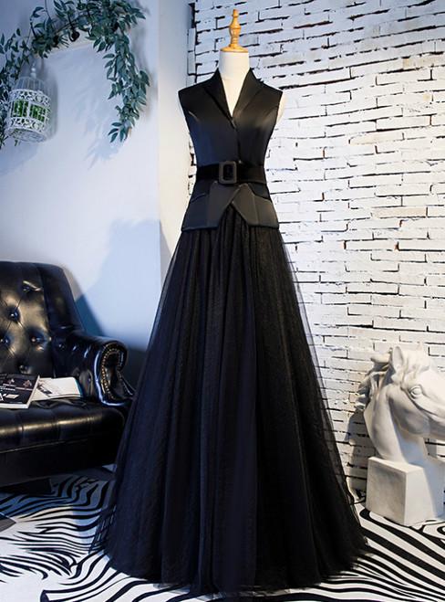 A-Line Black Tulle Satin V-neck Prom Dress With Sash 2020