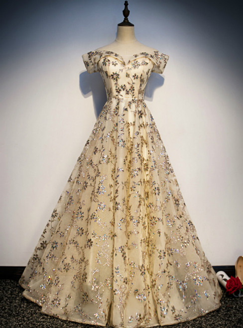 Champagne Tulle Sequins Off the Shoulder Prom Dress 2020
