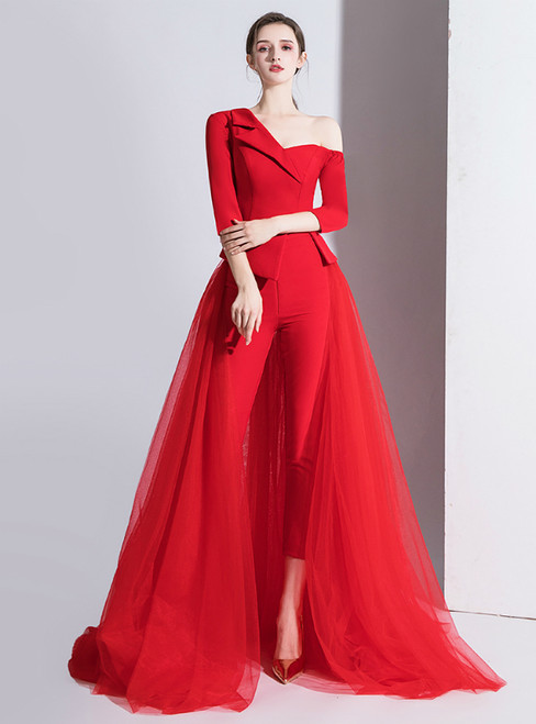 Fashion Red Satin Tulle Trouser Skirt Prom Dress