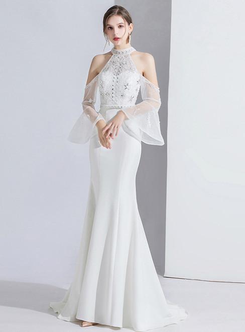 White Mermaid Satin Halter Horn Sleeve Prom Dress