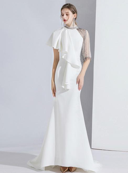 White Mermaid Short Sleeve High Neck Beading Prom Dress 2020