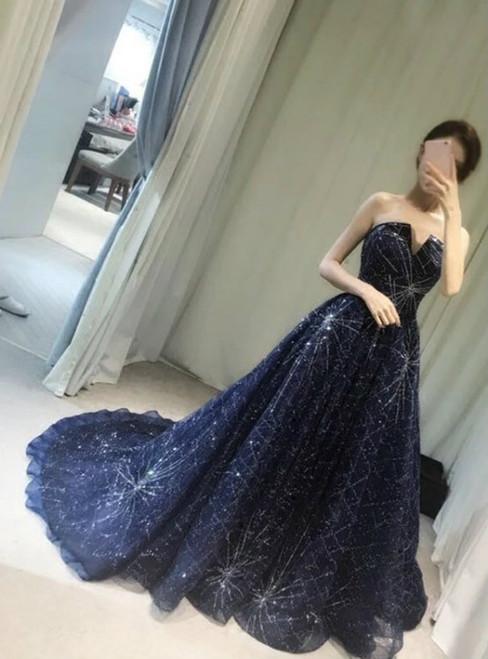 Elegant Sparkle Prom Dresses Long A-line Beaded Prom Dresses Newest Prom Dresses