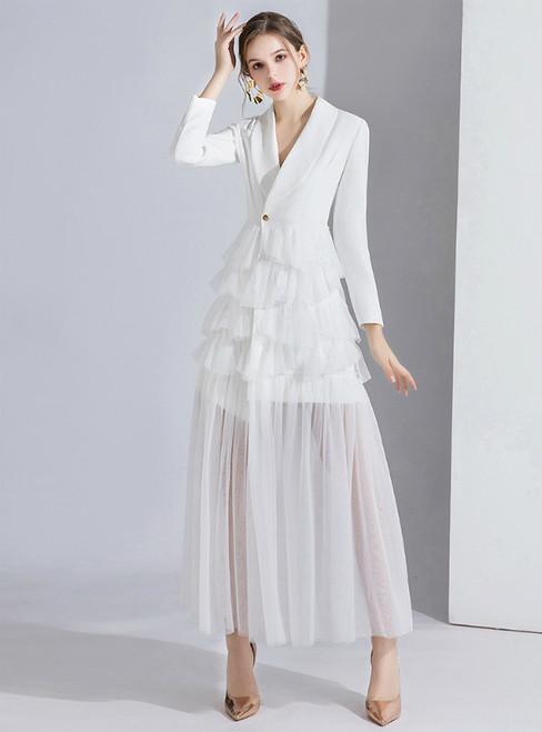 White Suit Long Sleeve Tulle V-neck Evening Dress