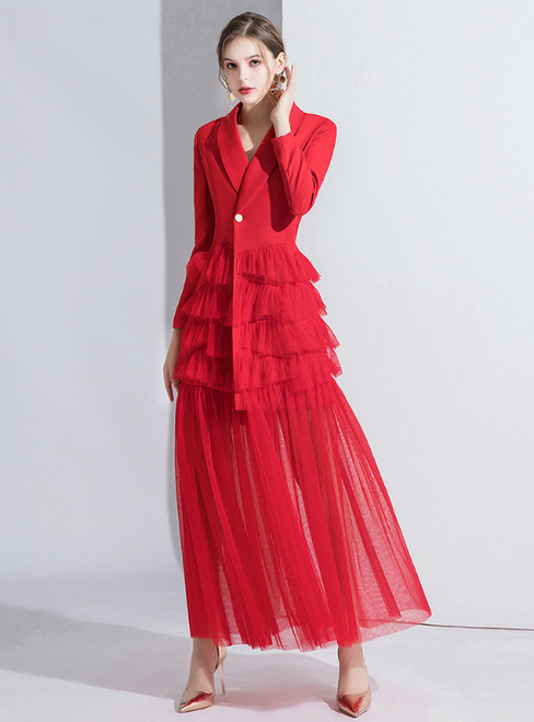 Red Suit Long Sleeve Tulle V-neck Evening Dress 2020