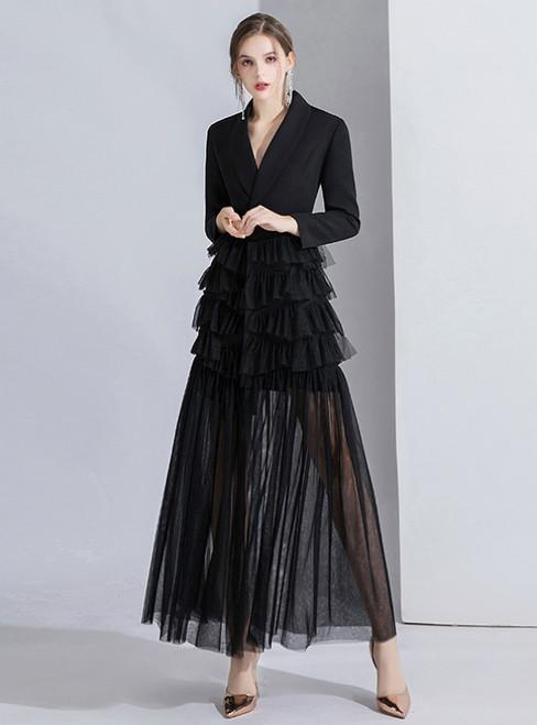 Black Suit Long Sleeve Tulle V-neck Evening Dress 2020