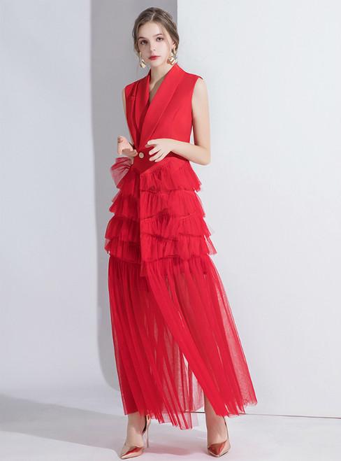 Red Suit Sleeveless Tulle V-neck Evening Dress