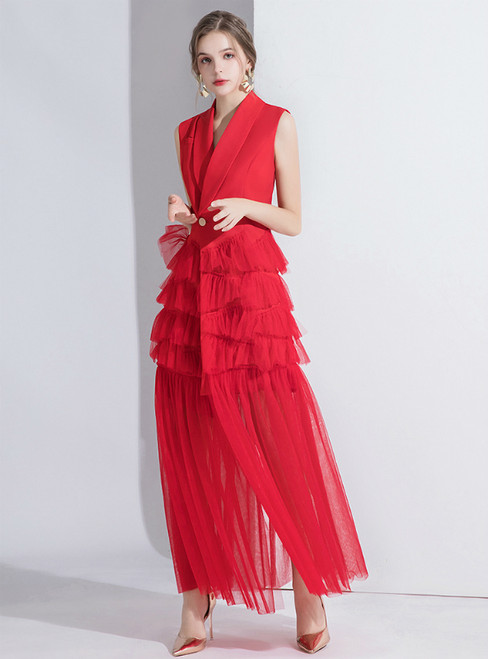 Red Suit Sleeveless Tulle V-neck Evening Dress