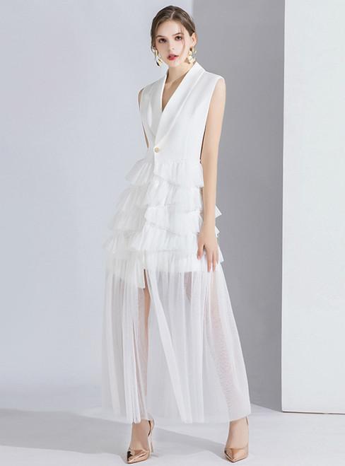 White Suit Sleeveless Tulle V-neck Evening Dress