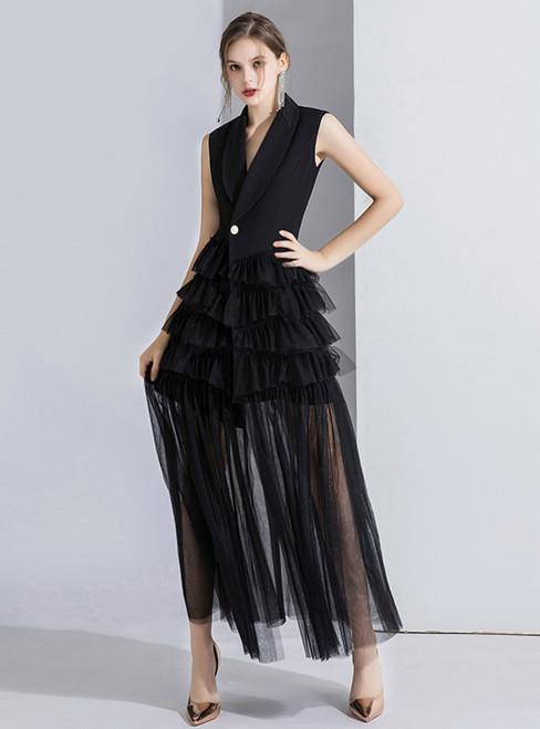 Black Suit Sleeveless Tulle V-neck Evening Dress 2020