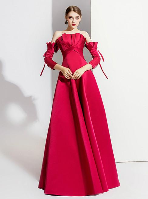 A-Line Red Satin Short Sleeve Off the Shoulder Prom Dress