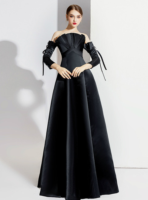 A-Line Black Satin Short Sleeve Off the Shoulder Prom Dress 2020
