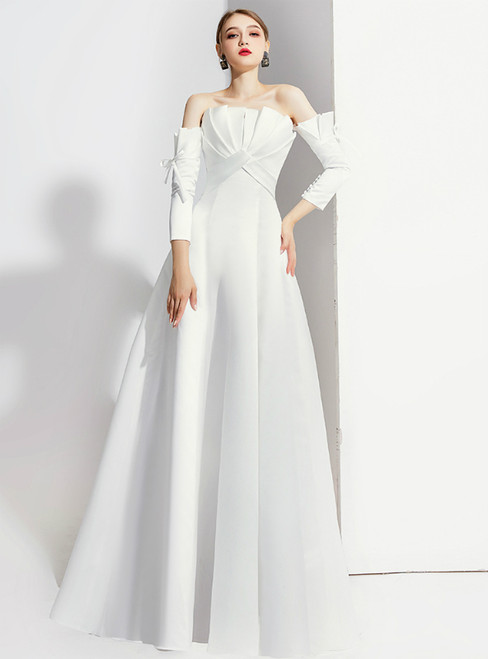 A-Line White Satin Short Sleeve Off the Shoulder Prom Dress 2020