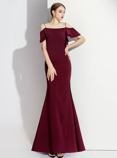 Burgundy Mermaid Spagehtti Straps Backless Prom Dress 2020