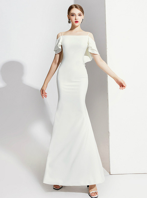 White Mermaid Spagehtti Straps Backless Prom Dress 2020