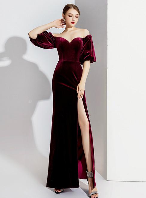 Burgundy Mermaid Velvet Off the Shoulder Prom Dress 2020