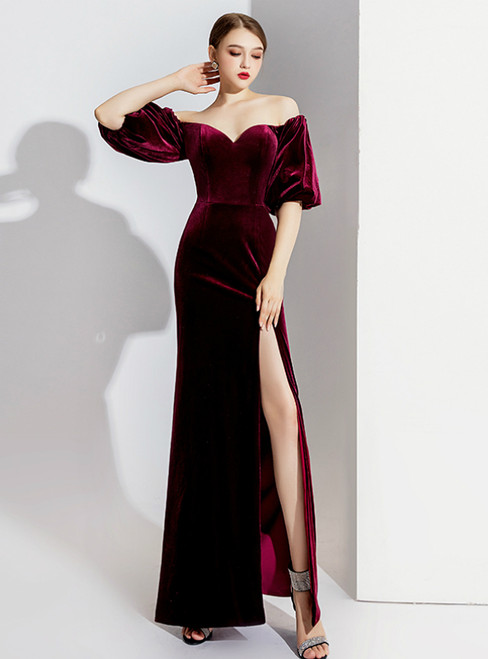Burgundy Mermaid Velvet Off the Shoulder Prom Dress 2020