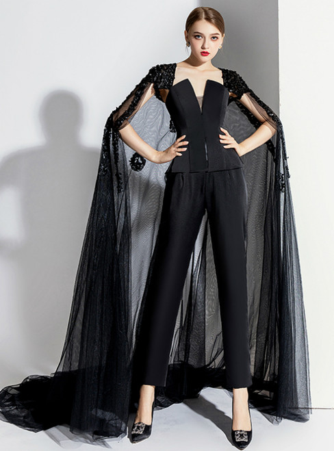 Sexy Black Trouser Skirt Tulle Prom Party Dress With Shawl 2020