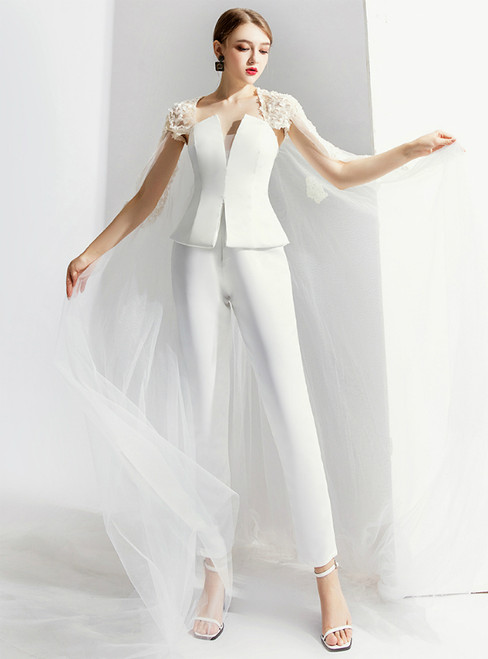 Sexy White Trouser Skirt Tulle Prom Party Dress With Shawl 2020