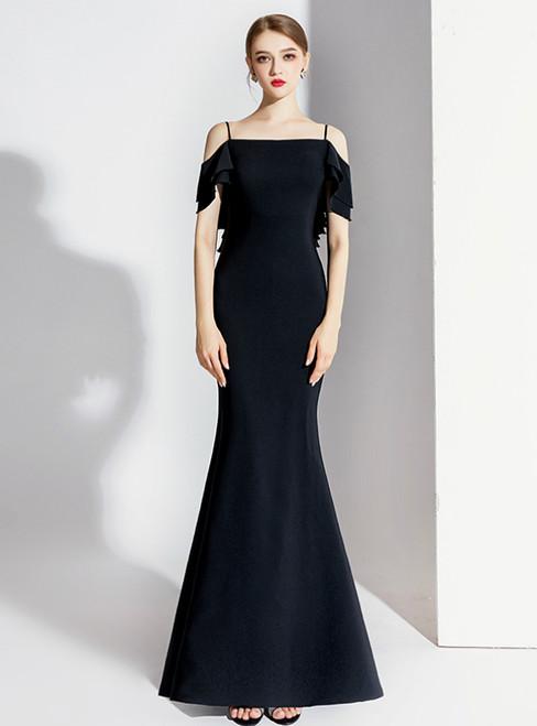 Black Mermaid Spagehtti Straps Backless Prom Dress 2020