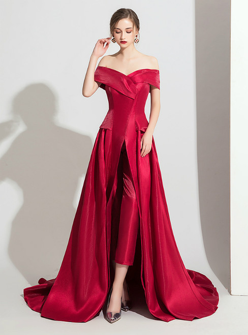 Burgundy Satin Off the Shoulder Trouser Skirt Prom Dress 2020