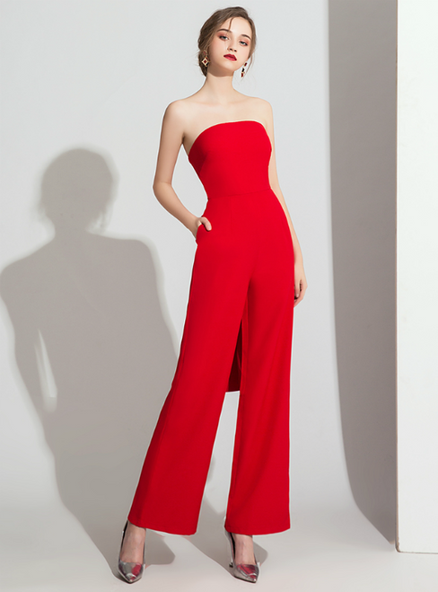 Red Strapless Party Sleeve Jumpsuits With Pocket