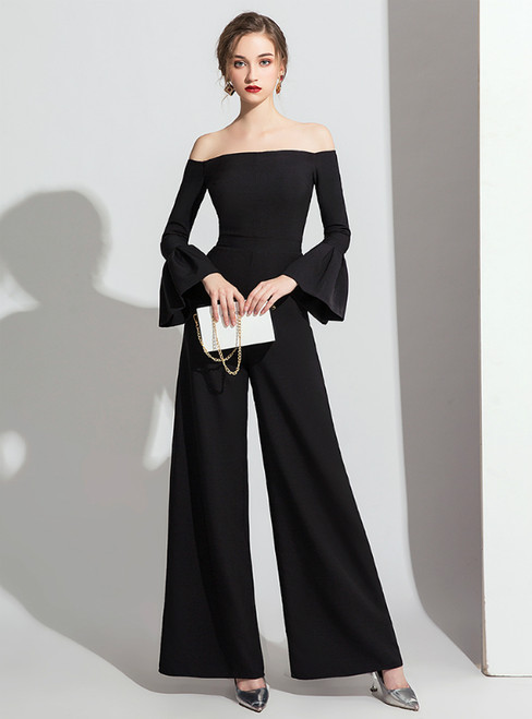 Sexy Black Off the Shoulder Long Sleeve Party Jumpsuits