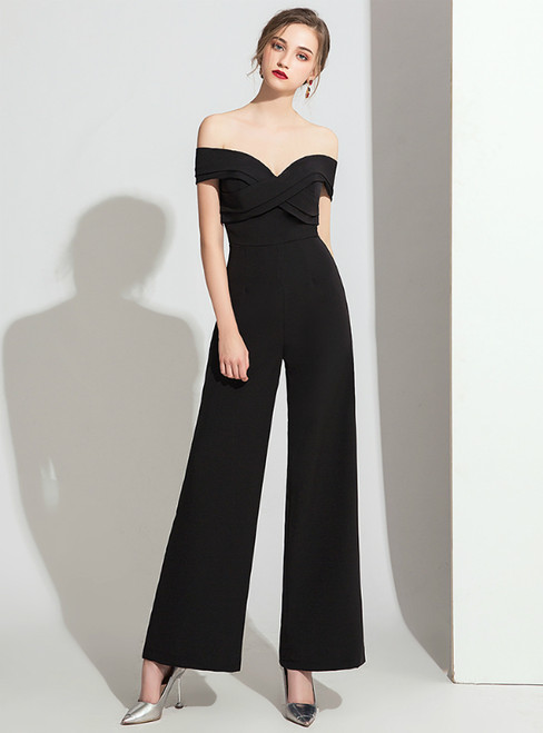 Fashion Black Polyester Off the Shoulder Party Jumpsuits 2020
