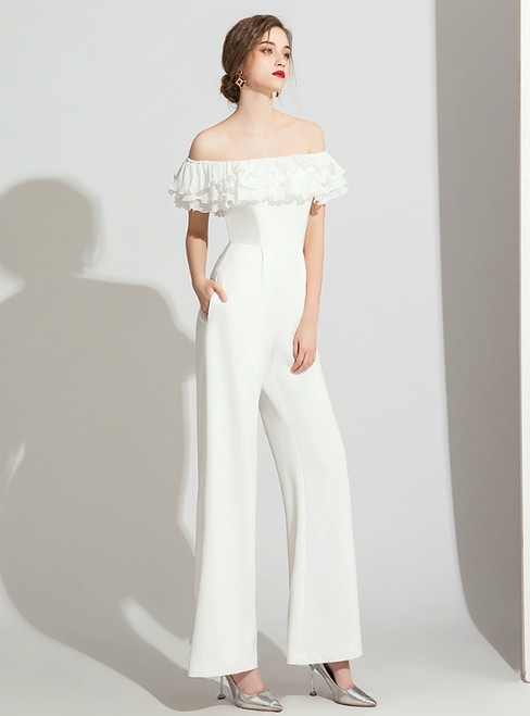 White Polyester Off the Shoulder Ruffles Party Jumpsuits  2020