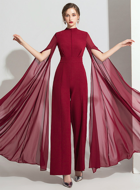 Burgundy Polyester Chiffon Party Jumpsuits Trouser Skirt