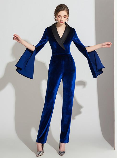 Royal Blue Velvet V-neck Long Sleeve Party Jumpsuits 2020